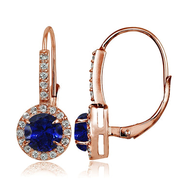 Rose Gold Flashed Sterling Silver Created Blue Sapphire and Cubic Zirconia Accents Round Leverback Earrings