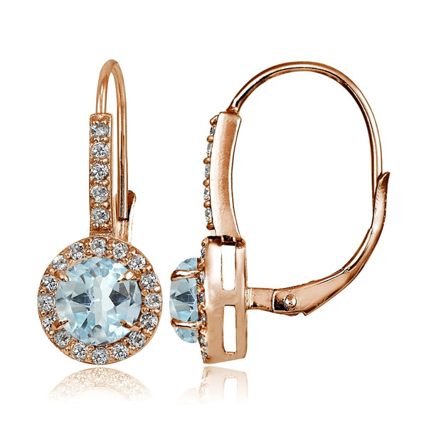 Rose Gold Flashed Sterling Silver Blue Topaz and Cubic Zirconia Accents Round Leverback Earrings