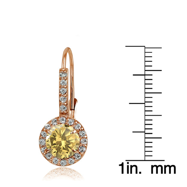 Rose Gold Flashed Sterling Silver Citrine and Cubic Zirconia Accents Round Leverback Earrings