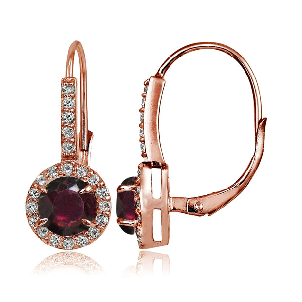 Rose Gold Flashed Sterling Silver Garnet and Cubic Zirconia Accents Round Leverback Earrings