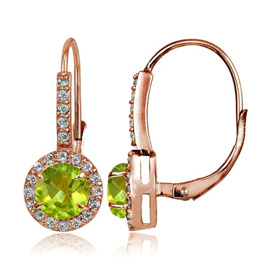 Rose Gold Flashed Sterling Silver Peridot and Cubic Zirconia Accents Round Leverback Earrings