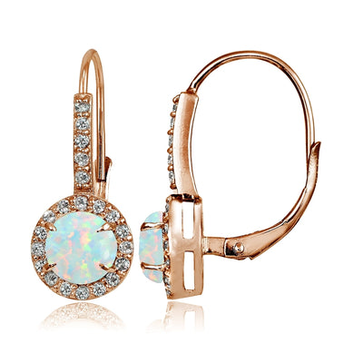 Rose Gold Flashed Sterling Silver Simulated White Opal and Cubic Zirconia Accents Round Leverback Earrings