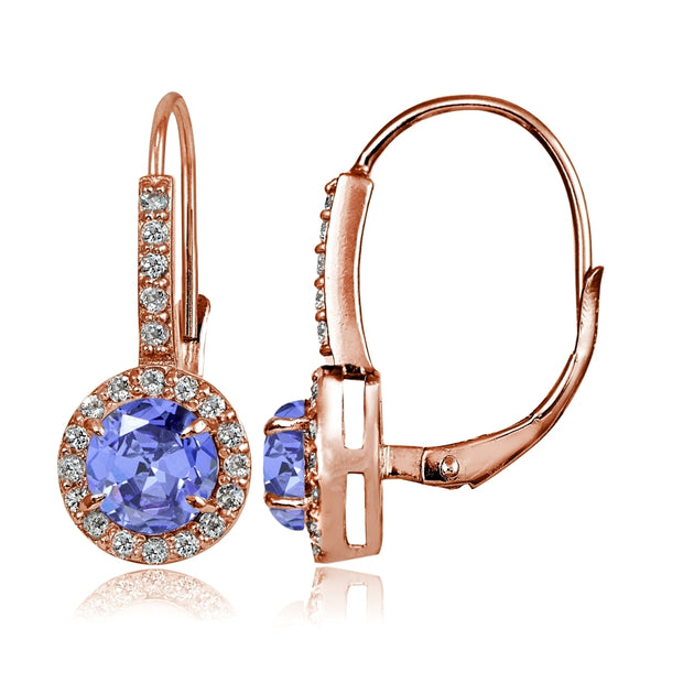 Rose Gold Flashed Sterling Silver Tanzanite and White Topaz Round Leverback Earrings