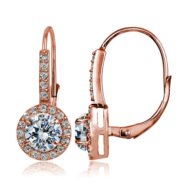 Rose Gold Flashed Sterling Silver Cubic Zirconia Round Leverback Earrings