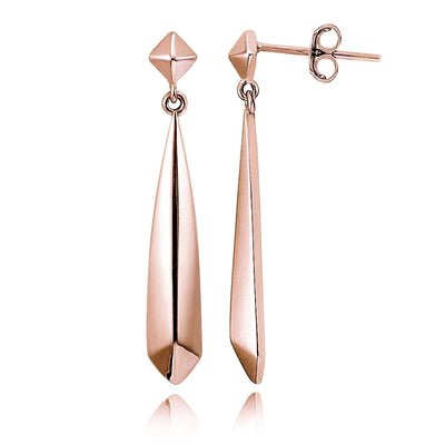 Rose Gold Tone over Sterling Silver Diamond-Shape Polished Drop Dangle Earrings