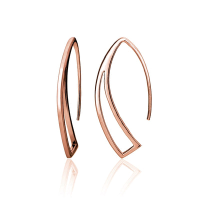 Rose Gold Tone over Sterling Silver Geometric Polished Hook Earrings