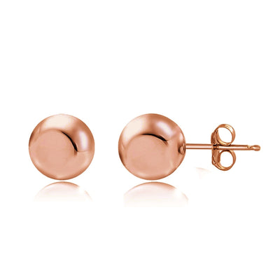 Rose Gold Tone over Sterling Silver 3mm Polished Ball Bead Stud Earrings
