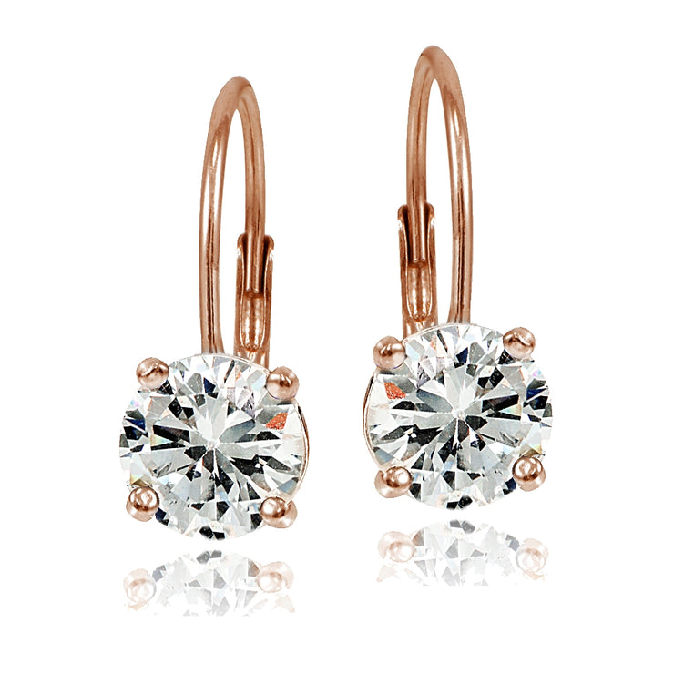 Rose Gold over Sterling Silver 7mm Round Cubic Zicronia Leverback Earrings