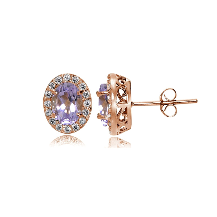 Rose Gold Flashed Sterling Silver Amethyst and Cubic Zirconia Accents Oval Halo Stud Earrings