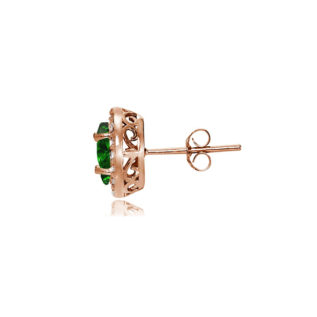 Rose Gold Flashed Sterling Silver Created Emerald and Cubic Zirconia Accents Oval Halo Stud Earrings