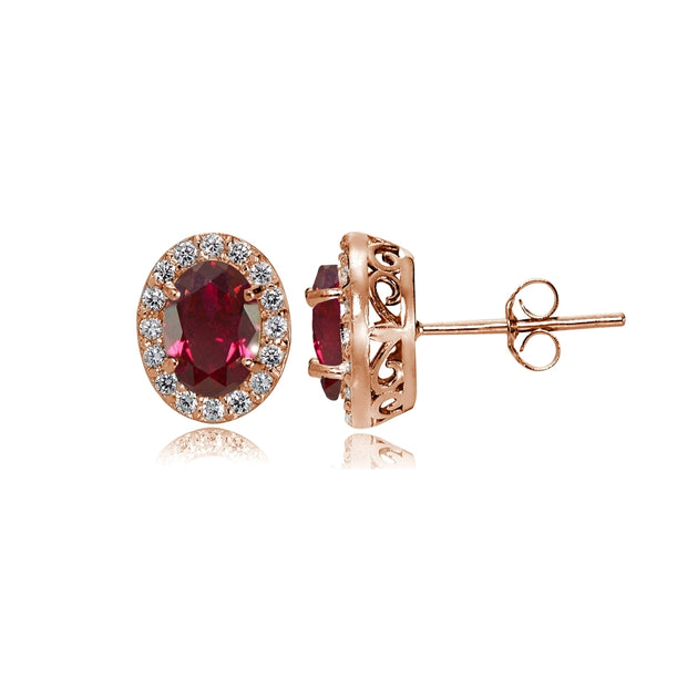 Rose Gold Flashed Sterling Silver Created Ruby and Cubic Zirconia Accents Oval Halo Stud Earrings