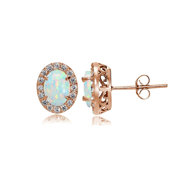 Rose Gold Flashed Sterling Silver Simulated White Opal and Cubic Zirconia Accents Oval Halo Stud Earrings