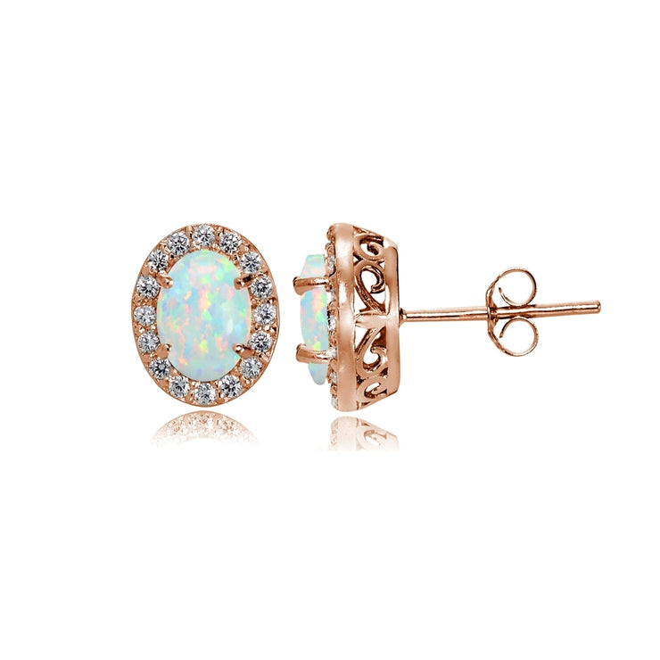 Rose Gold Flashed Sterling Silver Created White Opal and Cubic Zirconia Accents Oval Halo Stud Earrings