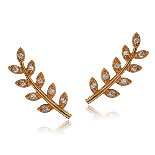 Rose Gold Tone over Sterling Silver Cubic Zirconia Leaf Crawler Climber Hook Earrings