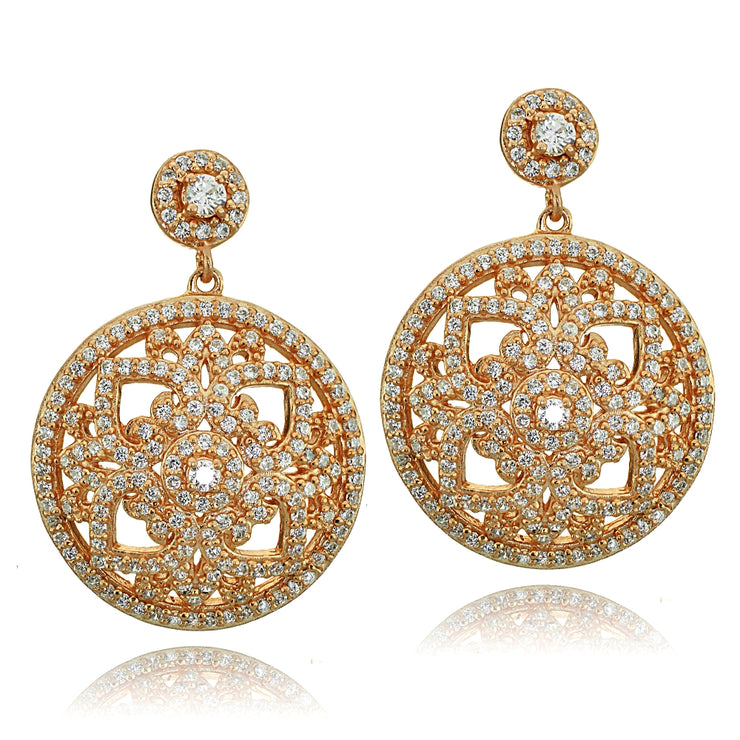 Rose Gold Tone over Sterling Silver Cubic Zirconia Filigree Medallion Dangle Earrings