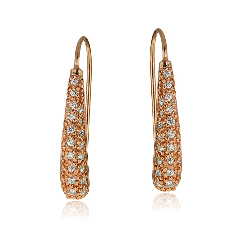 Rose Gold Tone over Sterling Silver Cubic Zirconia Teardrop Drop Hook Earrings