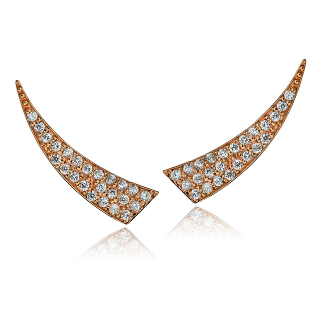 Rose Gold Tone over Sterling Silver Cubic Zirconia Horn Crawler Climber Hook Earrings