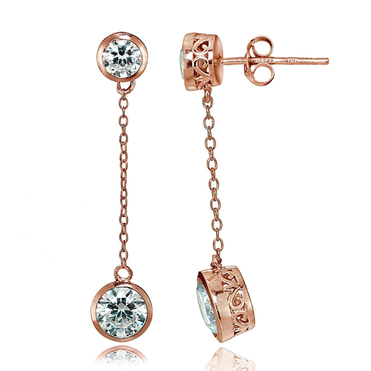 Rose Gold Tone over Sterling Silver Cubic Zirconia Bezel-Set Dangling Earrings