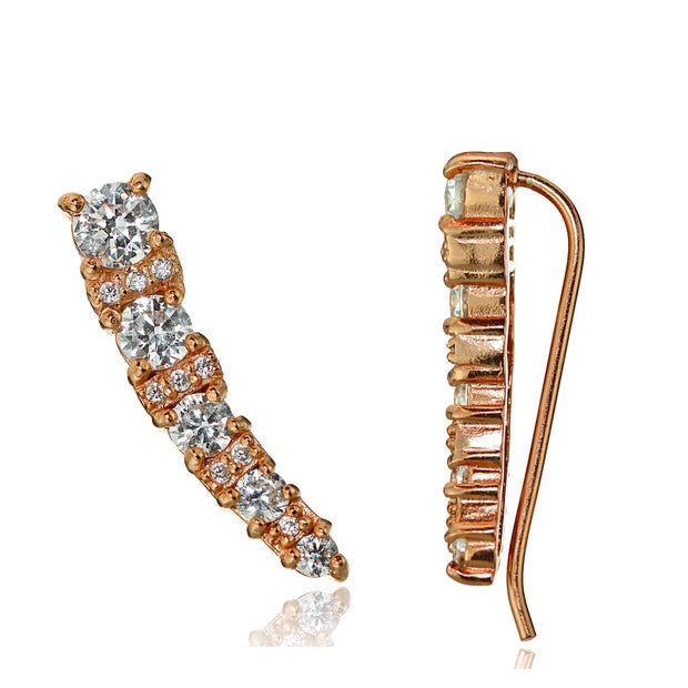 Rose Gold Tone over Sterling Silver Cubic Zirconia Graduating Crawler Climber Hook Earrings