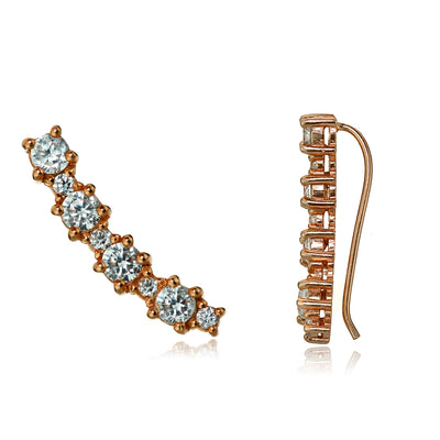 Rose Gold Tone over Sterling Silver Round Cubic Zirconia Curved Crawler Climber Hook Earrings