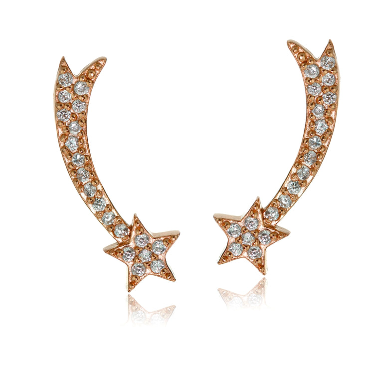 Rose Gold Tone over Sterling Silver Cubic Zirconia Shooting Star Crawler Climber Hook Earrings