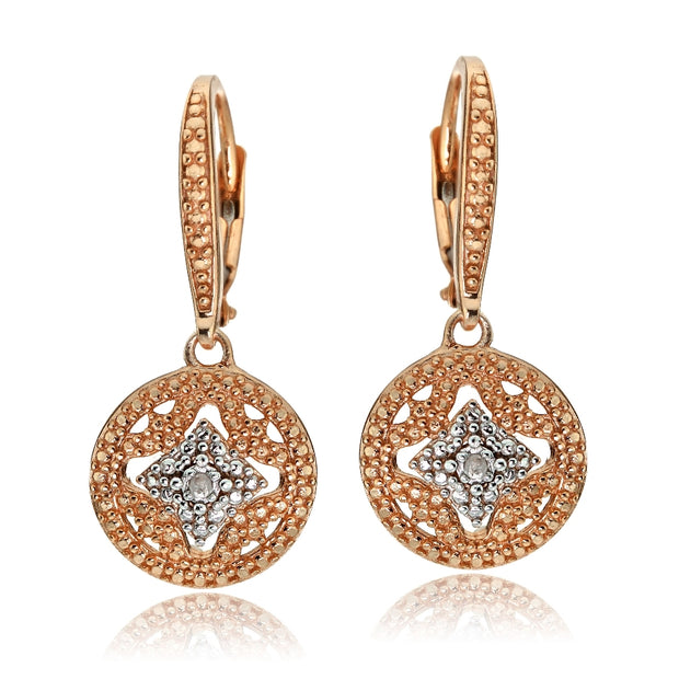 Rose Gold Tone over Sterling Silver Diamond Accent Filigree Medallion Dangle Leverback Earrings