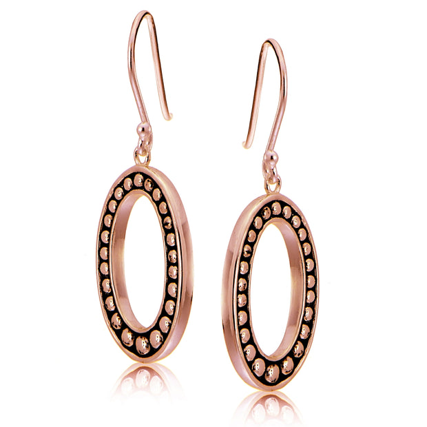 Rose Gold Tone over Sterling Silver Oxidized Pressed Beads Oval Dangle Earrings