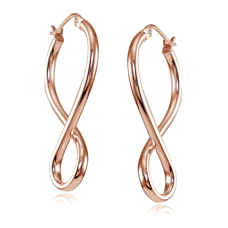 Rose Gold Flashed Sterling Silver Square Tube Large Figure 8 Infinity Polished Drop Earrings