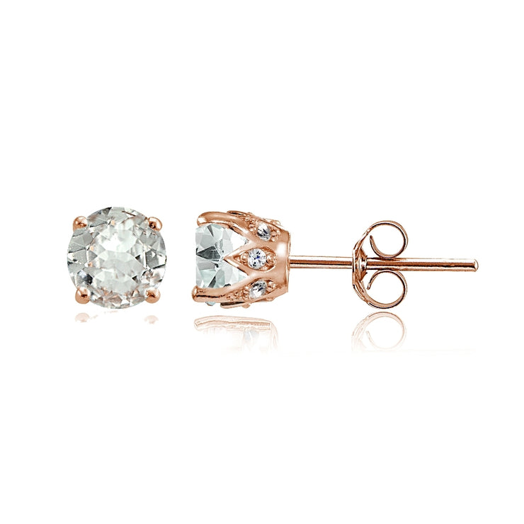Rose Gold Flashed Sterling Silver Aquamarine and Cubic Zirconia Accents Crown Stud Earrings