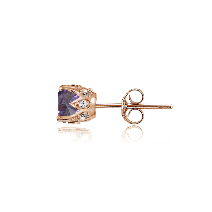 Rose Gold Flashed Sterling Silver Created Alexandrite and Cubic Zirconia Accents Crown Stud Earrings
