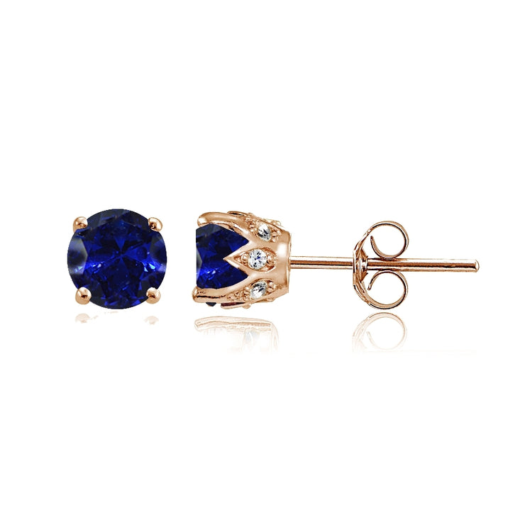 Rose Gold Flashed Sterling Silver Created Blue Sapphire and Cubic Zirconia Accents Crown Stud Earrings