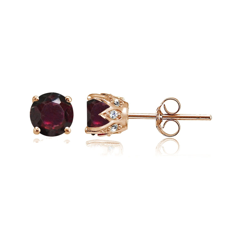 Rose Gold Flashed Sterling Silver Garnet and Cubic Zirconia Accents Crown Stud Earrings