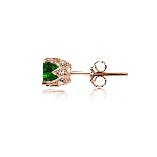 Rose Gold Flashed Sterling Silver Created Emerald and Cubic Zirconia Accents Crown Stud Earrings