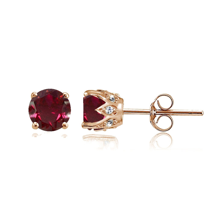 Rose Gold Flashed Sterling Silver Created Ruby and Cubic Zirconia Accents Crown Stud Earrings