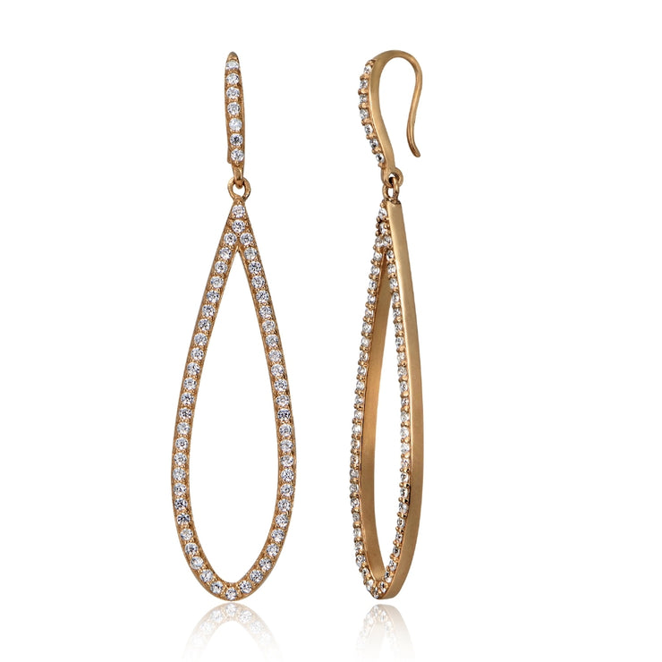 Rose Gold Tone over Sterling Silver Cubic Zirconia Teardrop Dangle Earrings