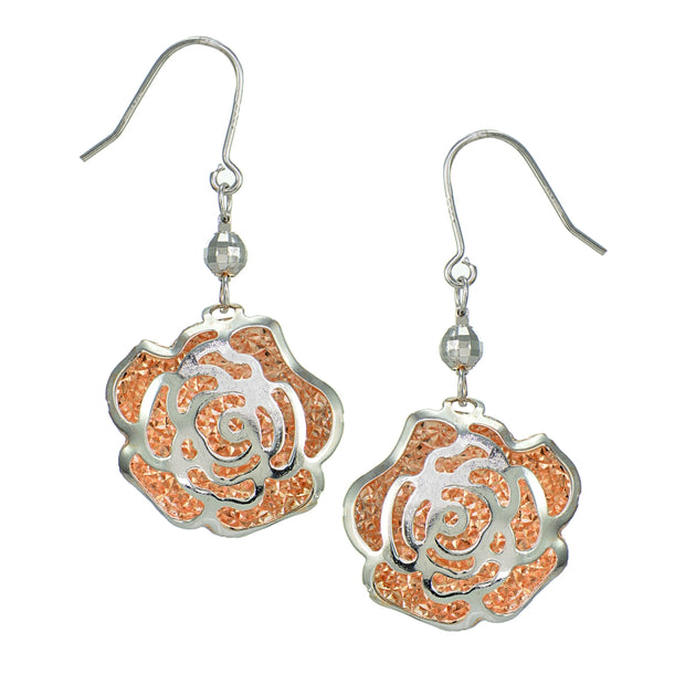 Rose Gold Flashed Sterling Silver Two Tone  Diamond-Cut Flower and Bead Earrings