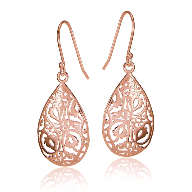 Rose Gold Flashed Sterling Silver FiligreeTeardrop Earrings