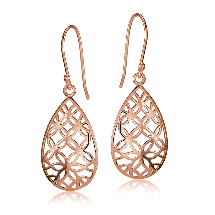Rose Gold Flashed Sterling Silver Filigree Floral Design Teardrop Earrings