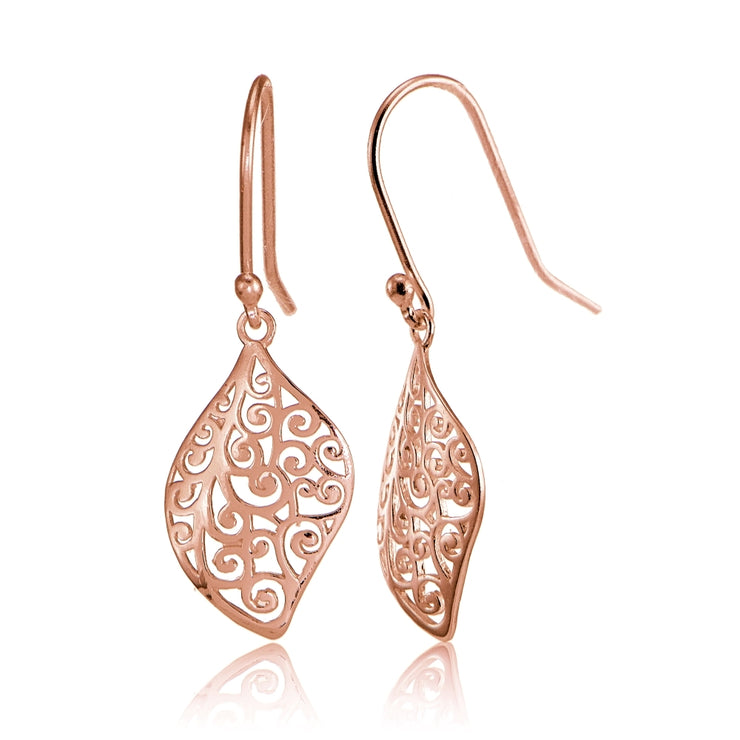 Rose Gold Flashed Sterling Silver Filigree Cut Scroll Design Leaf Shape Earrings