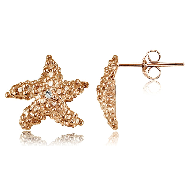 Rose Gold Flashed Sterling Silver Cubic Zirconia Starfish Stud Earrings