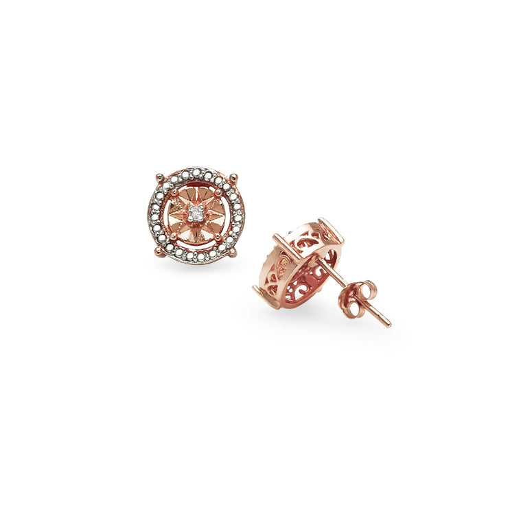 Rose Gold Flashed Sterling Silver Diamond Accent Round Illusion Stud Earrings, JK-I3