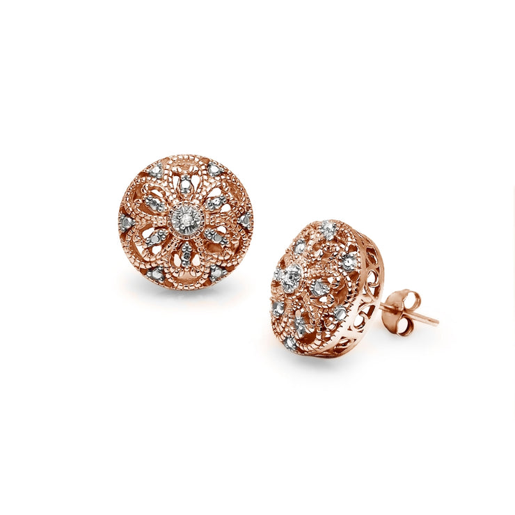 Rose Gold Flashed Sterling Silver Round Filigree Diamond Accent Stud Earrings, JK-I3