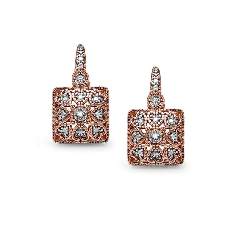 Rose Gold Flashed Sterling Silver Square Filigree Diamond Accent Leverback Drop Earrings, JK-I3