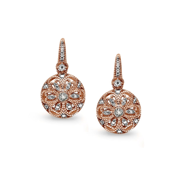 Rose Gold Flashed Sterling Silver Round Filigree Diamond Accent Leverback Drop Earrings, JK-I3