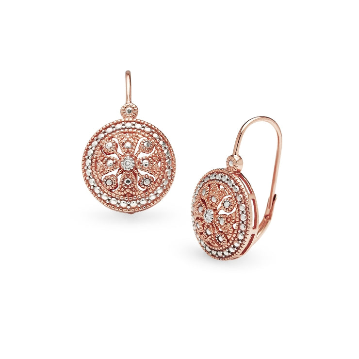 Rose Gold Flashed Sterling Silver Round Filigree Medallion Diamond Accent Leverback Drop Earrings, JK-I3