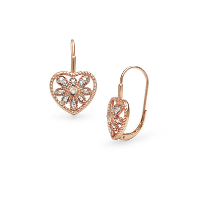 Rose Gold Flashed Sterling Silver Heart Filigree Flower Diamond Accent Leverback Drop Earrings, JK-I3