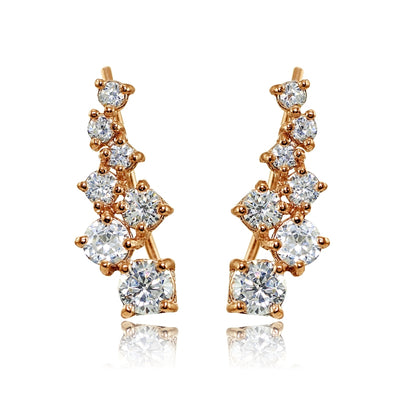 Rose Gold Flashed Sterling Silver Cubic Zirconia Graduating Climber Crawler Earrings