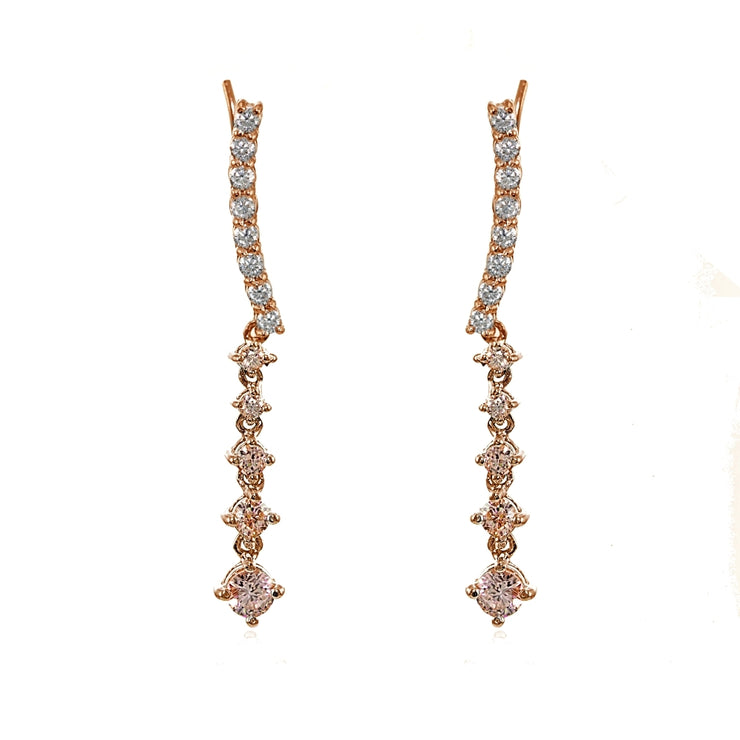 Rose Gold Flashed Sterling Silver Round Created Morganite Climber Crawler Dangle Earrings