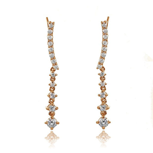 Rose Gold Flashed Sterling Silver Round Cubic Zirconia Climber Crawler Dangle Earrings