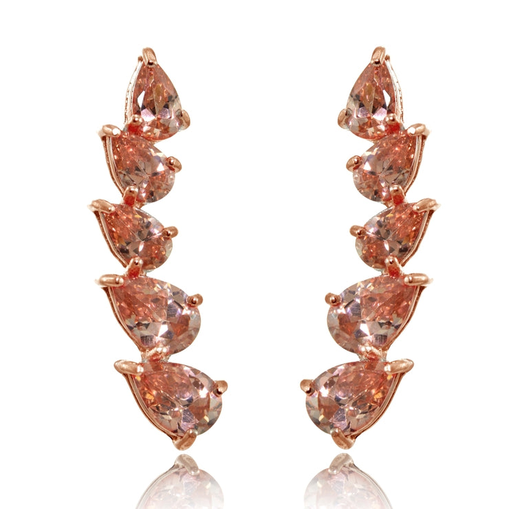 Rose Gold Flashed Sterling Silver Teardrop Created Morganite Curved Climber Crawler Earrings